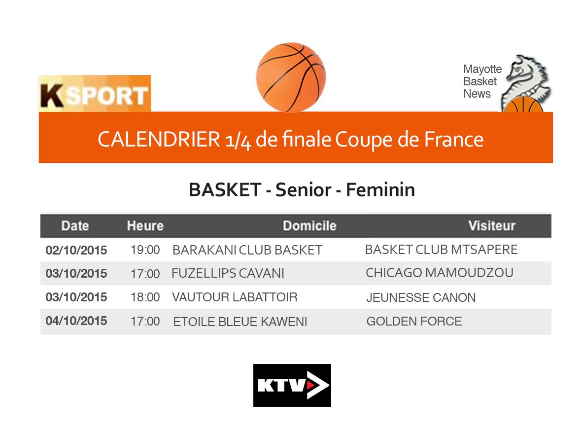 Basket coupe de france r gionale le calendrier des - Calendrier coupe de france des rallyes 2015 ...