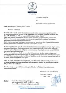 Le président du CROS saisit le Conseil Départemental suite à la baisse de 57% des subventions attribuées aux ligues et comités sportifs