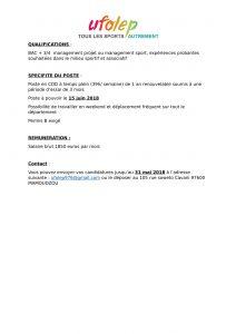 Poste de chargé de développement UFOLEP 976-2