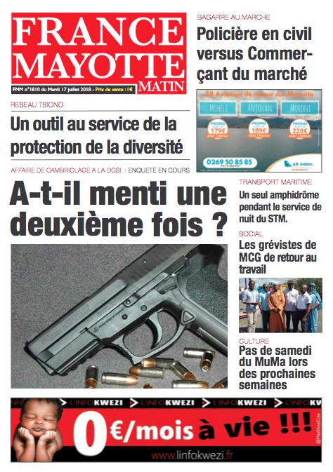France Mayotte Mardi 17 juillet 2018