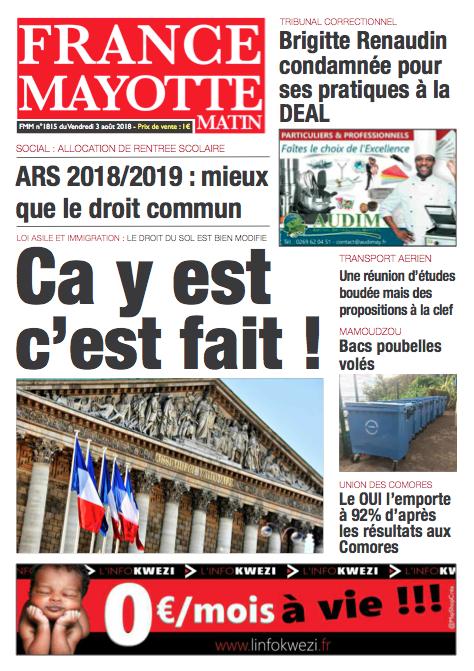 France Mayotte Vendredi 3 août 2018