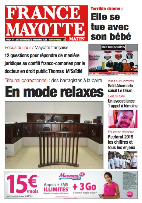 France Mayotte Mercredi 5 septembre 2018