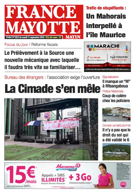 France Mayotte Mardi 11 septembre 2018