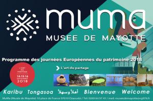 Journées européennes du patrimoine les 14, 15 et 16 septembre 2018 au Musée de Mayotte