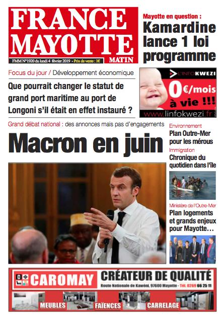 France Mayotte Lundi 4 février 2019