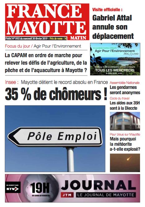France Mayotte Mercredi 20 février 2019
