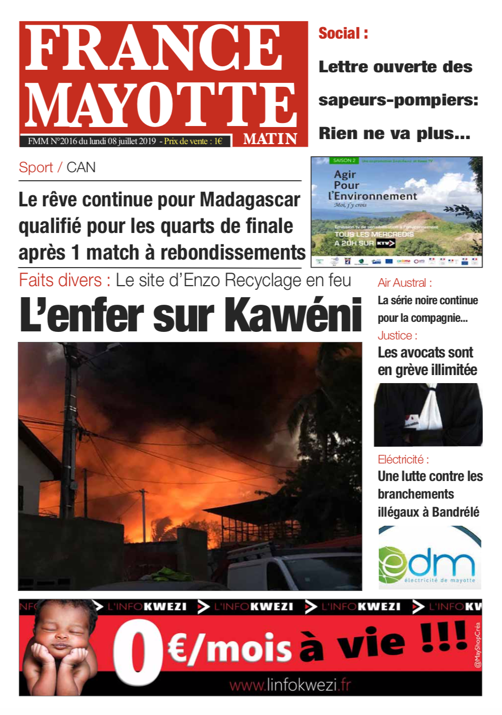 France Mayotte Lundi 8 juillet 2019