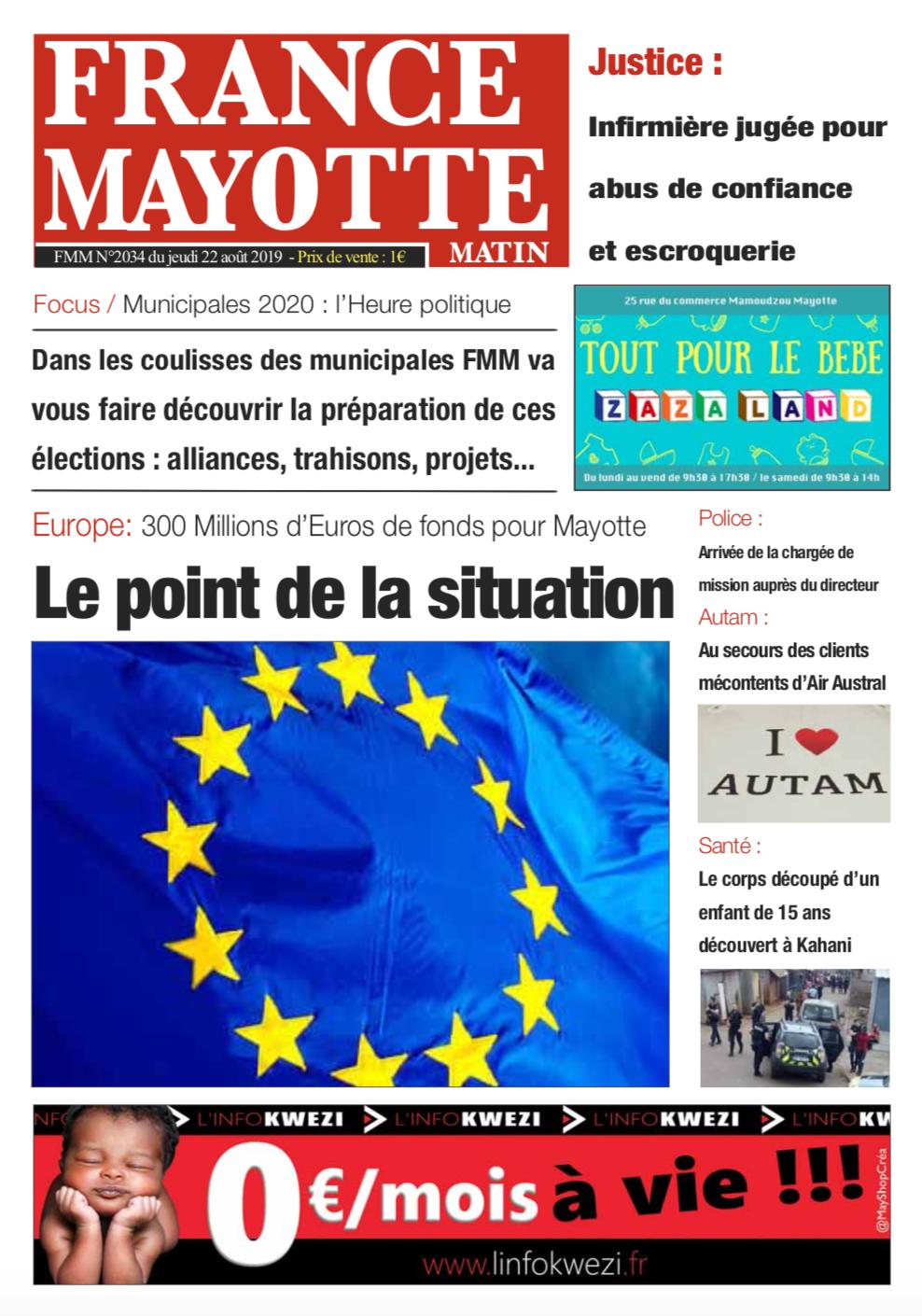 France Mayotte Jeudi 22 août 2019