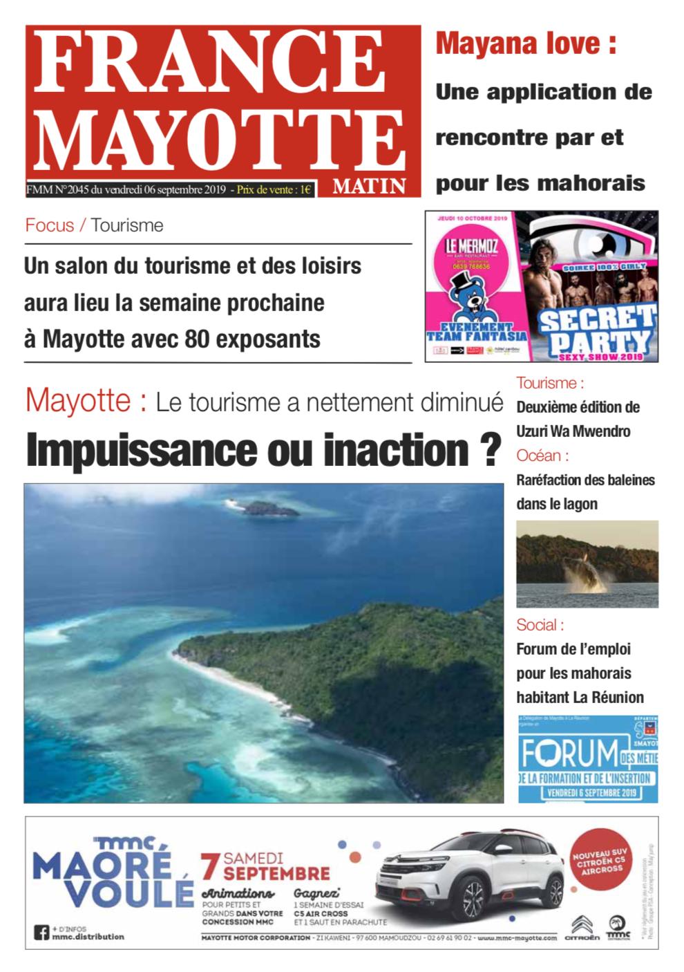 France Mayotte Vendredi 6 septembre 2019