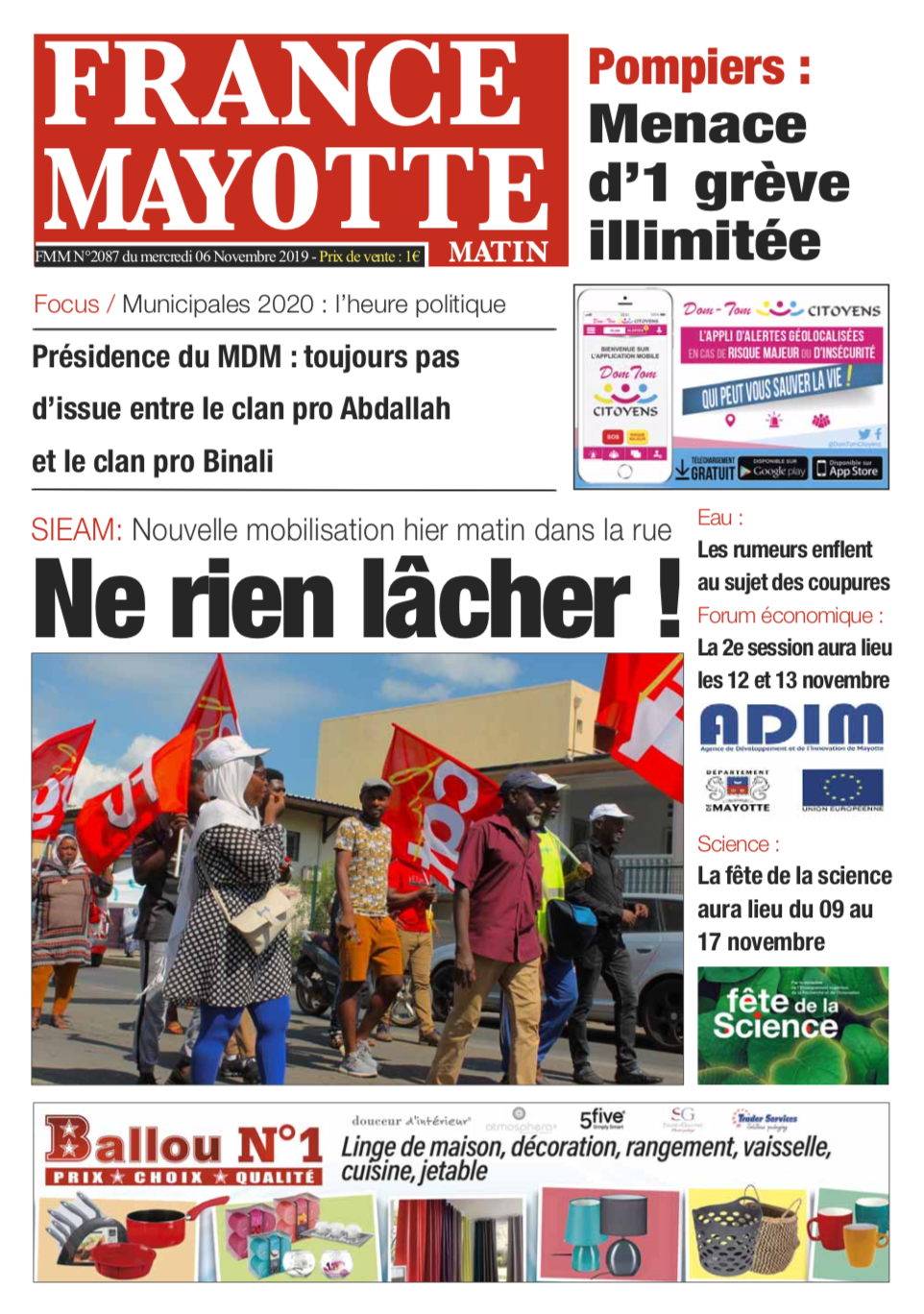 France Mayotte Mercredi 6 novembre 2019