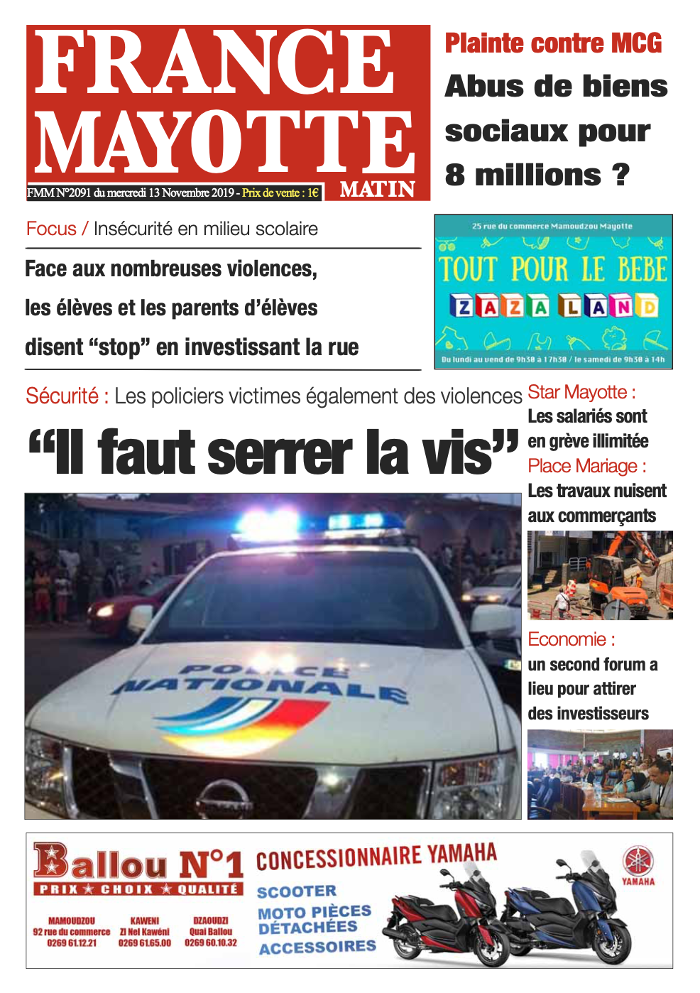 France Mayotte Mercredi 13 novembre 2019