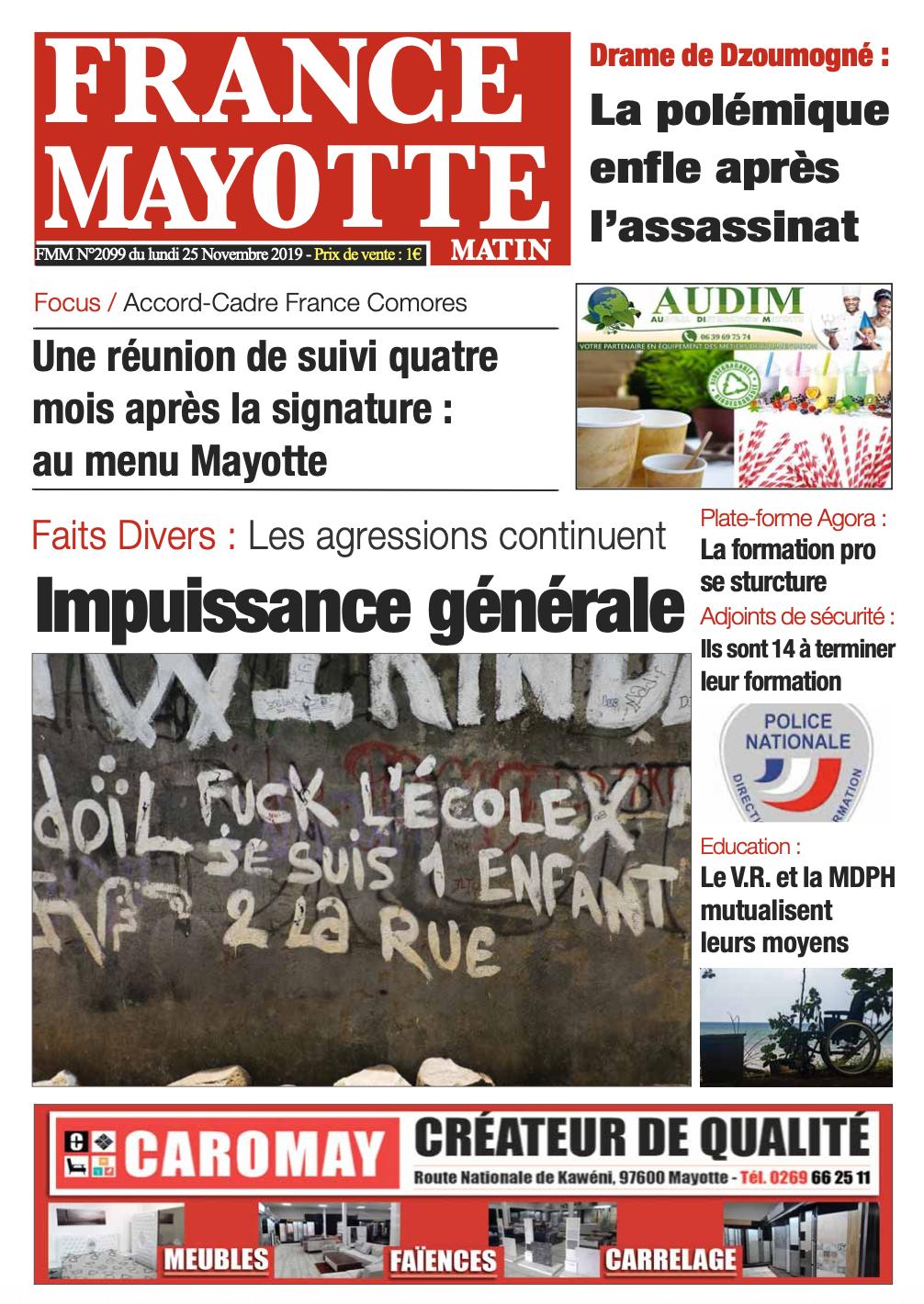 France Mayotte Lundi 25 novembre 2019
