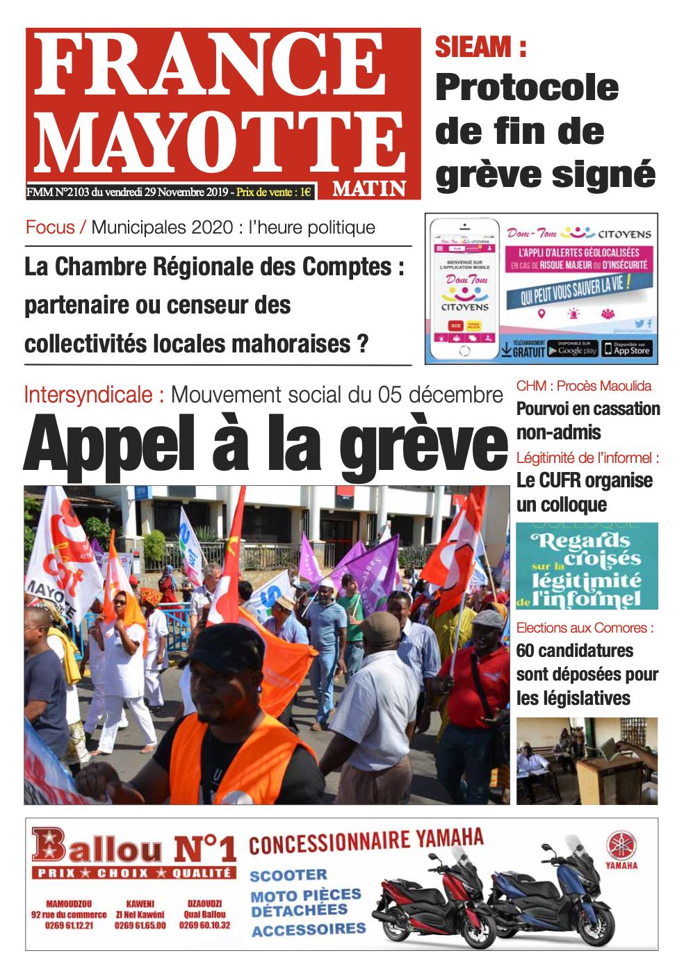 France Mayotte Vendredi 29 novembre 2019