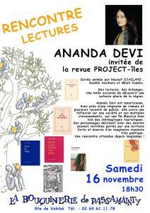Ananda DEVI, auteure mauricienne renommée, sera à la Bouquinerie de Passamainty