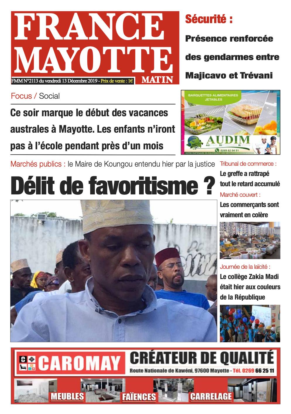 France Mayotte Vendredi 13 décembre 2019