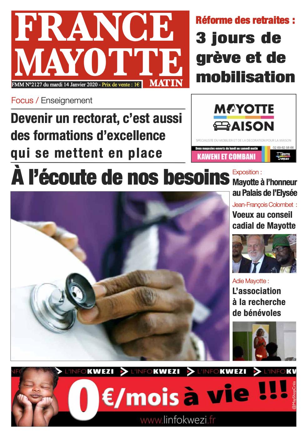 France Mayotte Mardi 14 janvier 2020