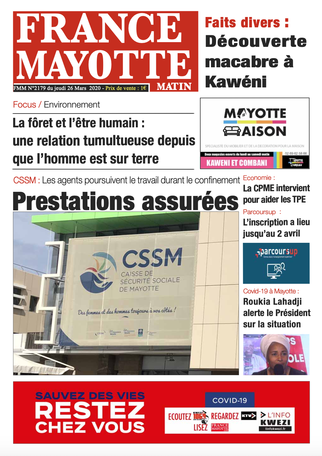 France Mayotte Jeudi 26 mars 2020