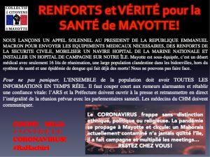 Coronavirus : le collectif des citoyens de Mayotte lance un appel au Président Macron