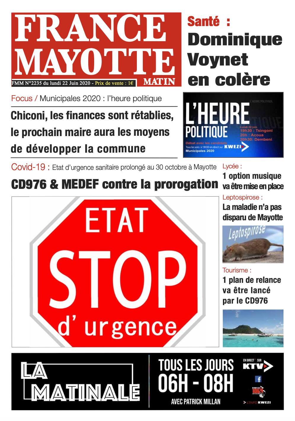 France Mayotte Lundi 22 juin 2020