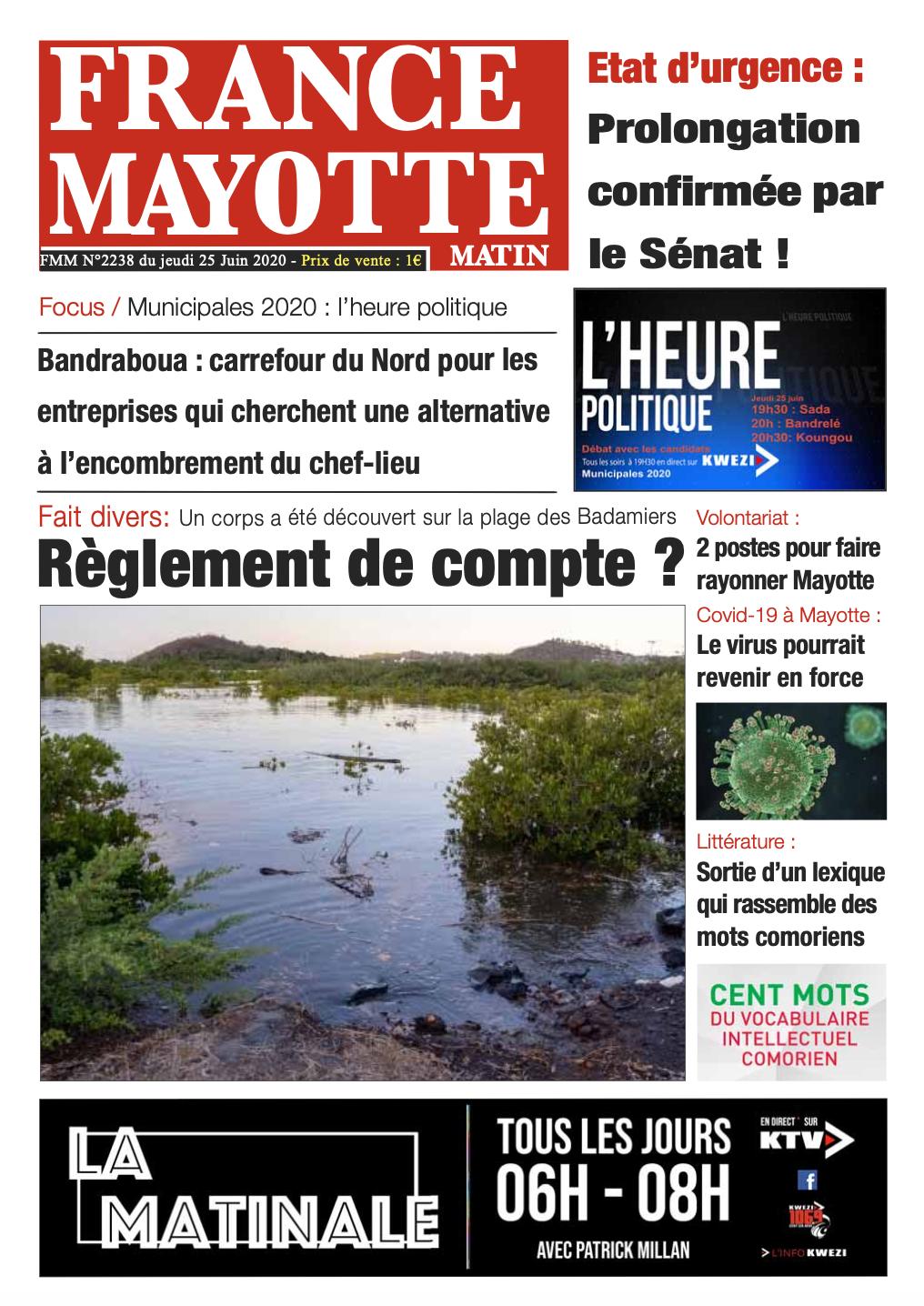 France Mayotte Jeudi 25 juin 2020