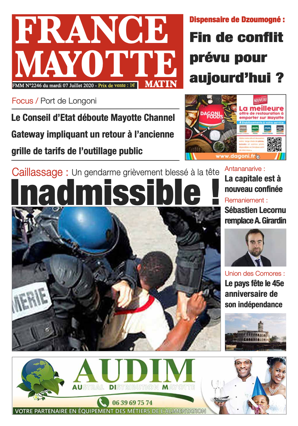France Mayotte Mardi 7 juillet 2020