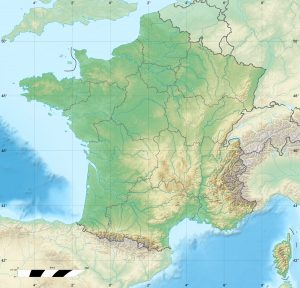 Blank physical map of France for geo-location purpose