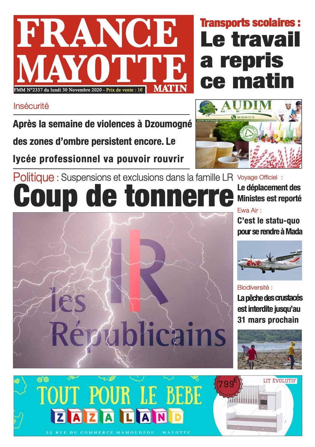 France Mayotte Lundi 30 novembre 2020