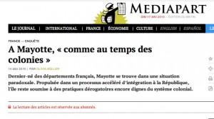 Mayotte à l'honneur sur Mediapart…