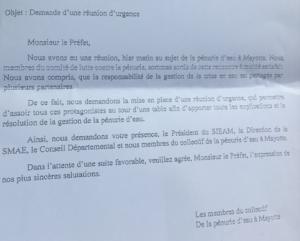 Les membres du Collectif de la Pénurie d'eau à Mayotte demandent une réunion d'urgence