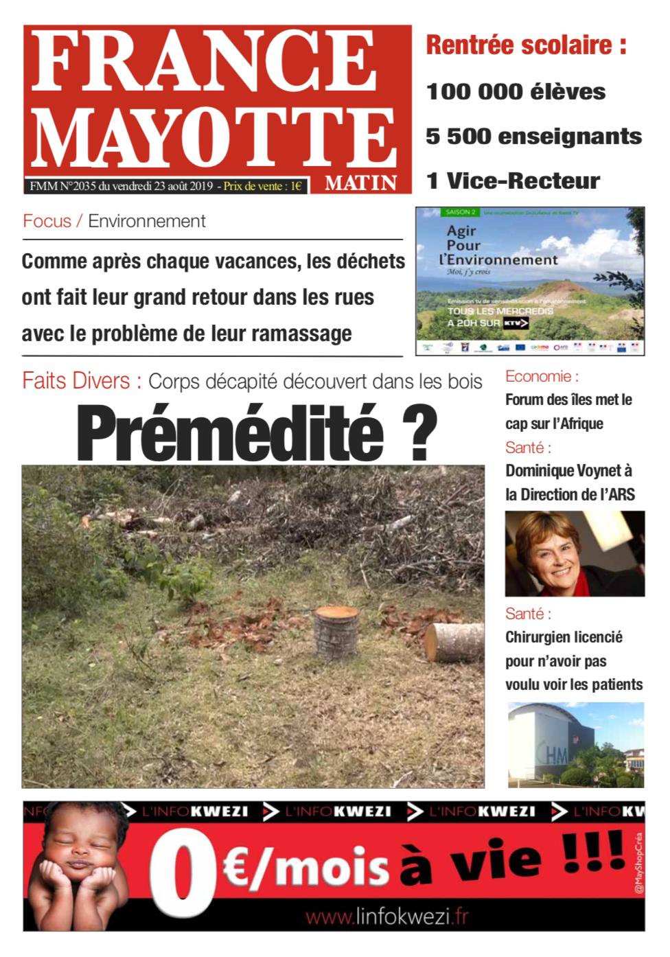 France Mayotte Vendredi 23 août 2019