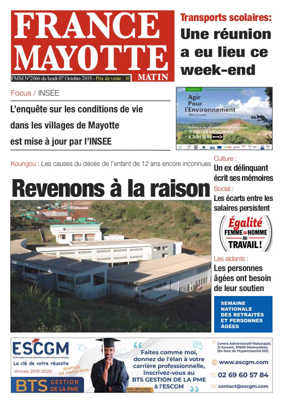 France Mayotte Lundi 7 octobre 2019