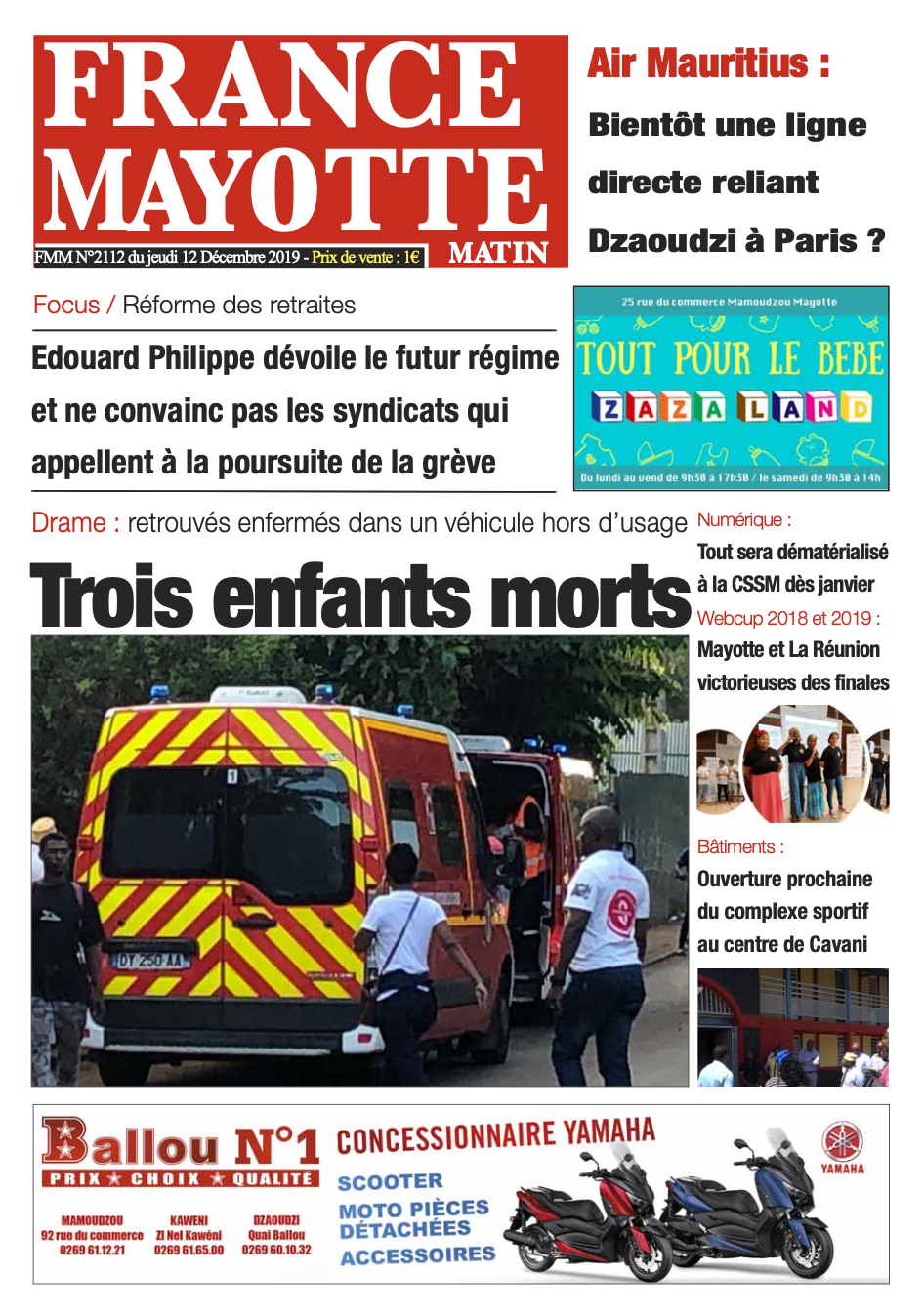 France Mayotte Jeudi 12 décembre 2019