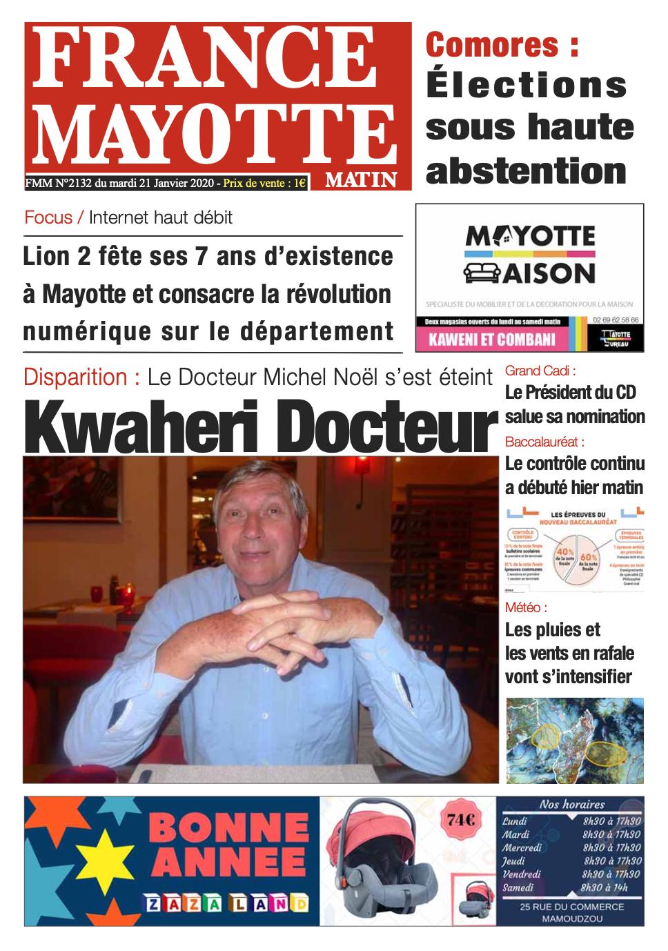 France Mayotte Mardi 21 janvier 2020