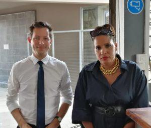 Estelle Youssouffa et Francois-Xavier Bellamy en discussion