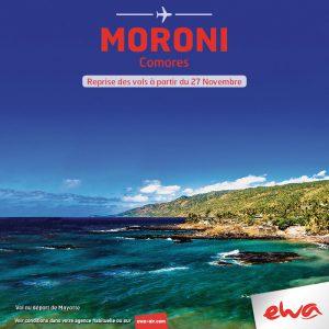 Ewa reprend les airs en direction de Moroni