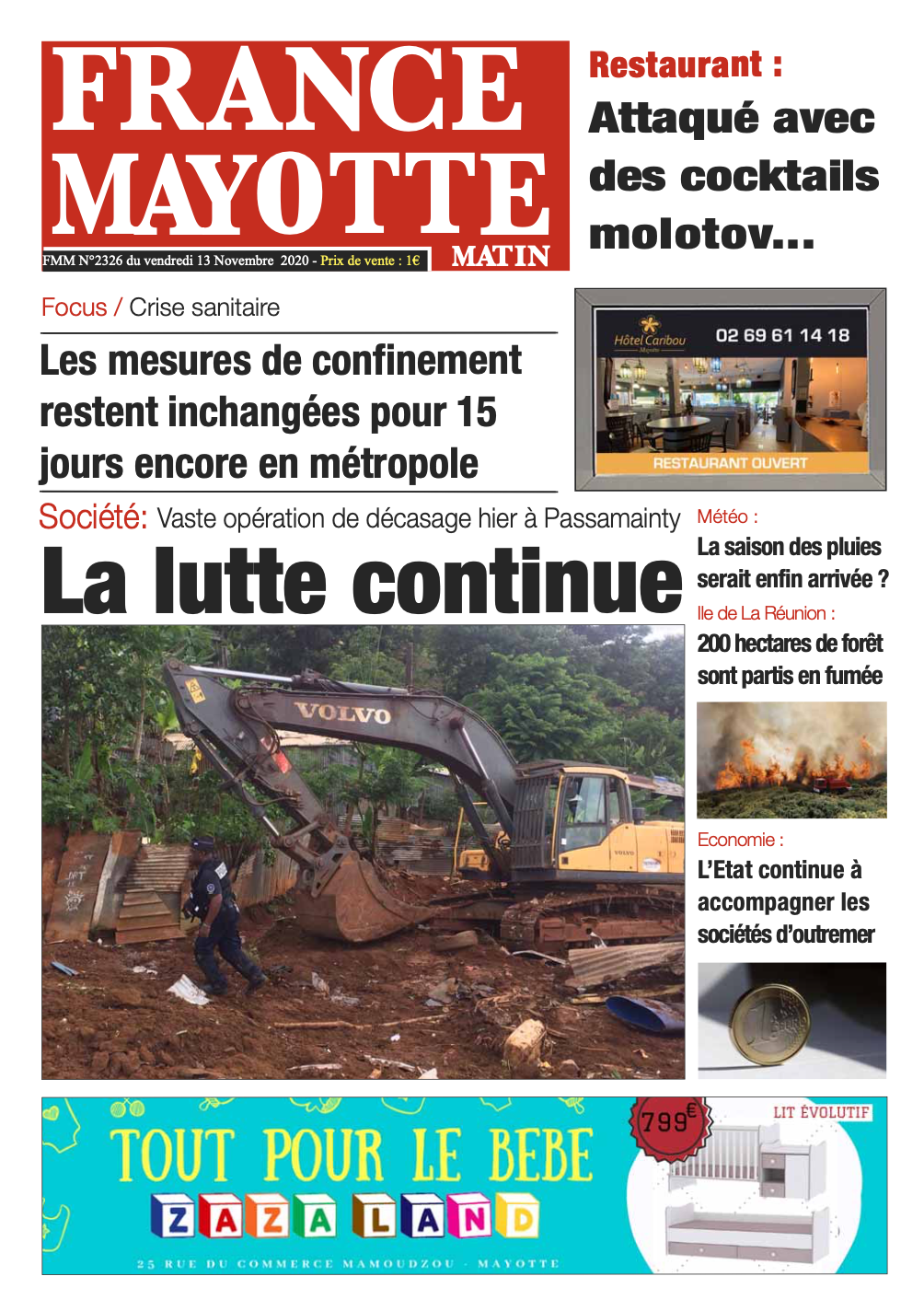 France Mayotte Vendredi 13 novembre 2020