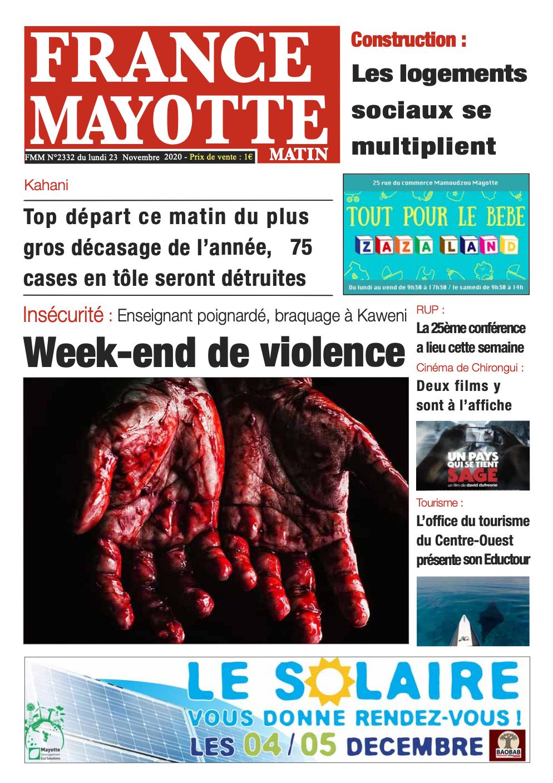 France Mayotte Lundi 23 novembre 2020
