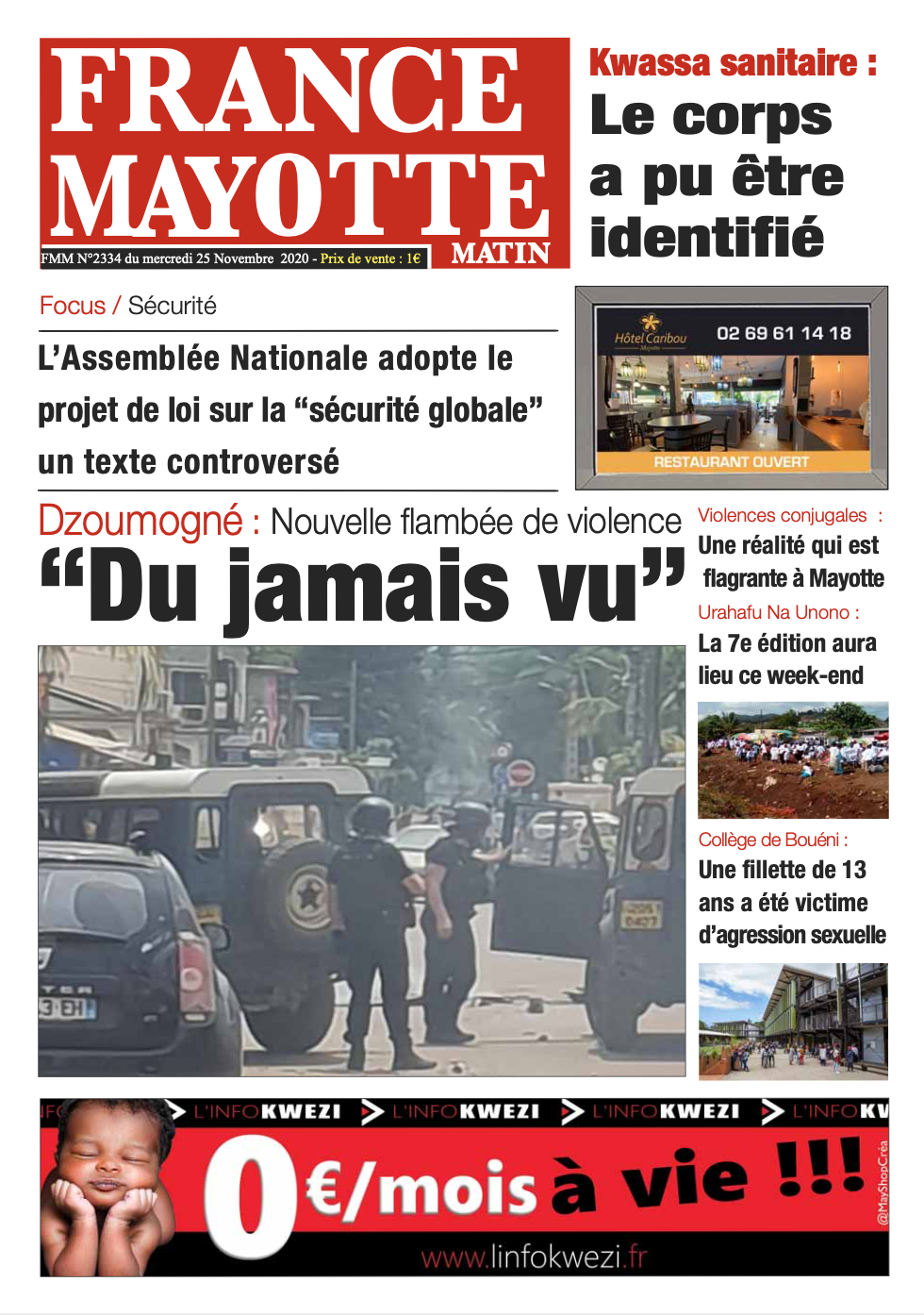France Mayotte Mercredi 25 novembre 2020