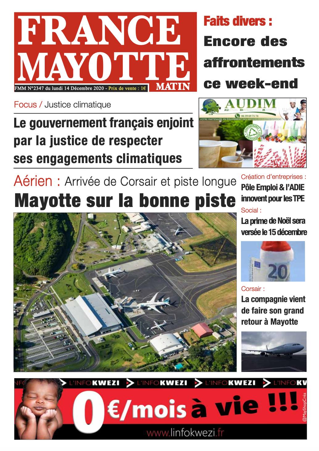 France Mayotte Lundi 14 décembre 2020