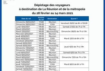 Les dates et horaires de dépistage pour les vols jusqu'au 14 mars