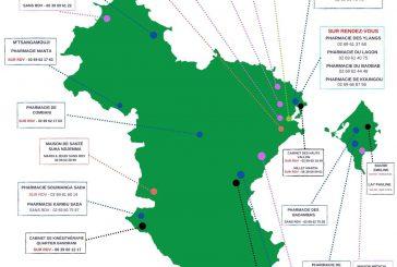 Carte des centres de dépistage dans l'île