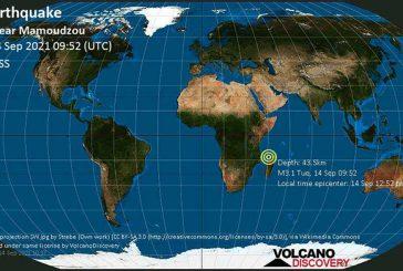 Un nouveau séisme à 35 km de Pamandzi