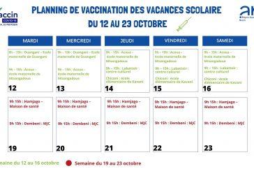 Planning des vaccinations durant les vacances scolaires du 12 au 23 octobre